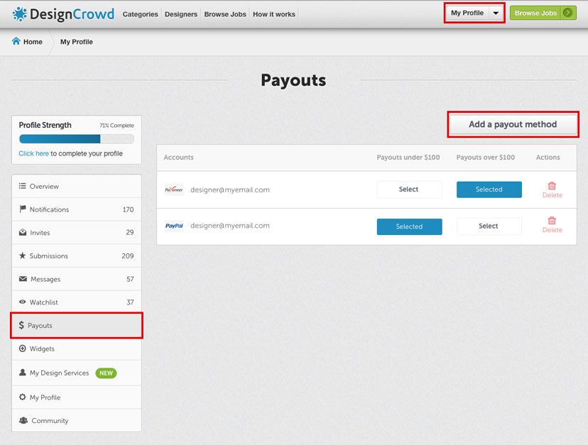 how to add a universe payout account