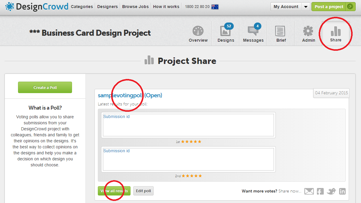 How do i create and use the voting poll designcrowd 6 once you have shared your poll the recipients will begin voting the poll will be available within the share tab of your project management page where magicingreecefo Gallery